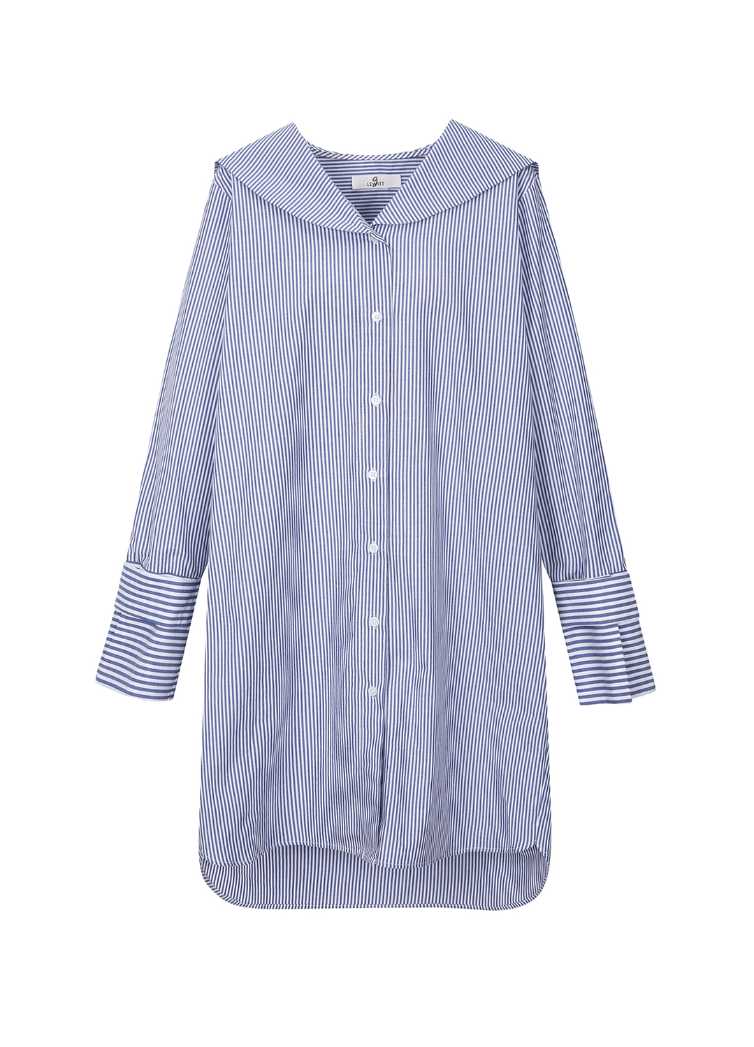 Stripe Sailor Collar Long Blouse [2차리오더]