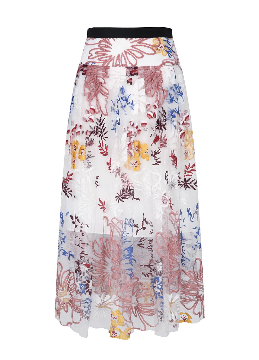Lace Pleats Flower Patterned Skirt