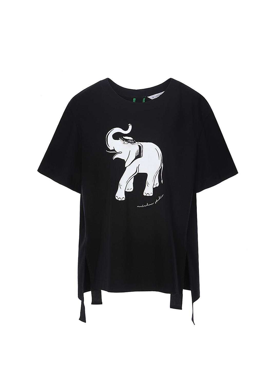 면 사이드 슬릿 포인트 티셔츠