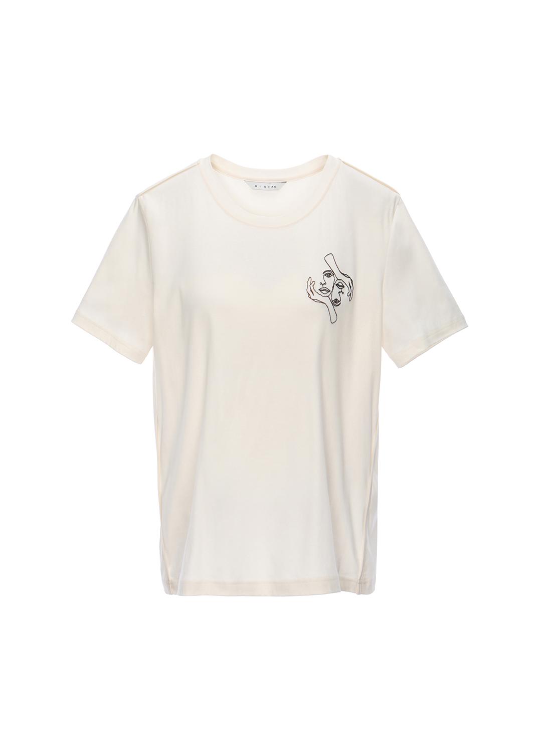 면 프린팅 포인트 라운드넥 티셔츠