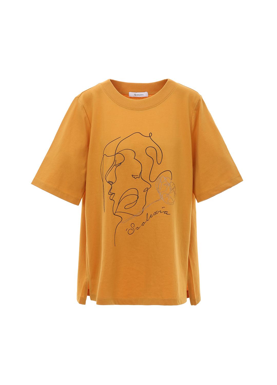 페이스 드로잉 프린트 반팔 티셔츠