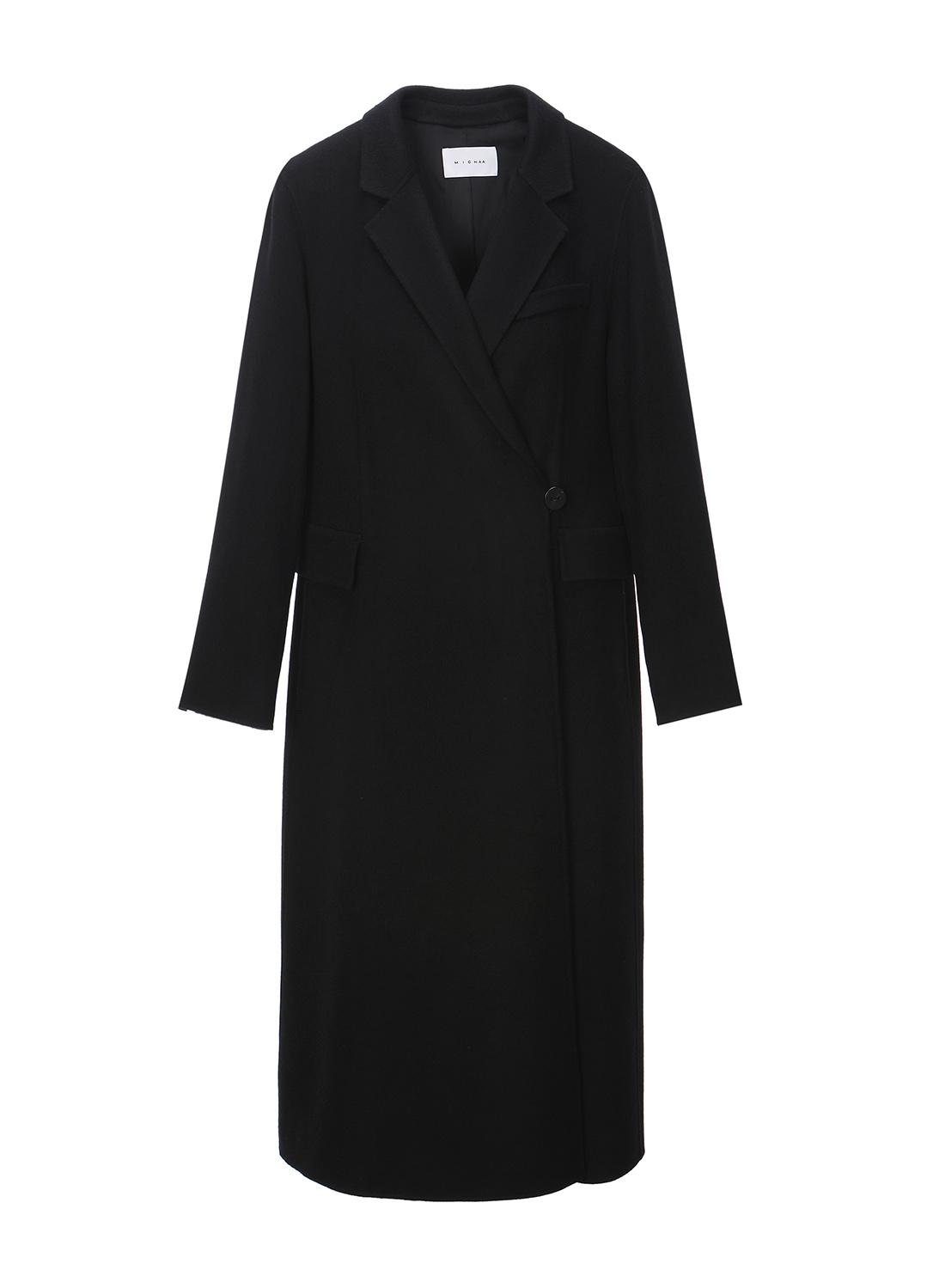 버튼 디테일 모 혼방 코트
