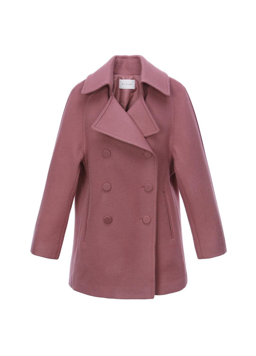 캐시미어 더블 브레스트 플랩 포켓 코트