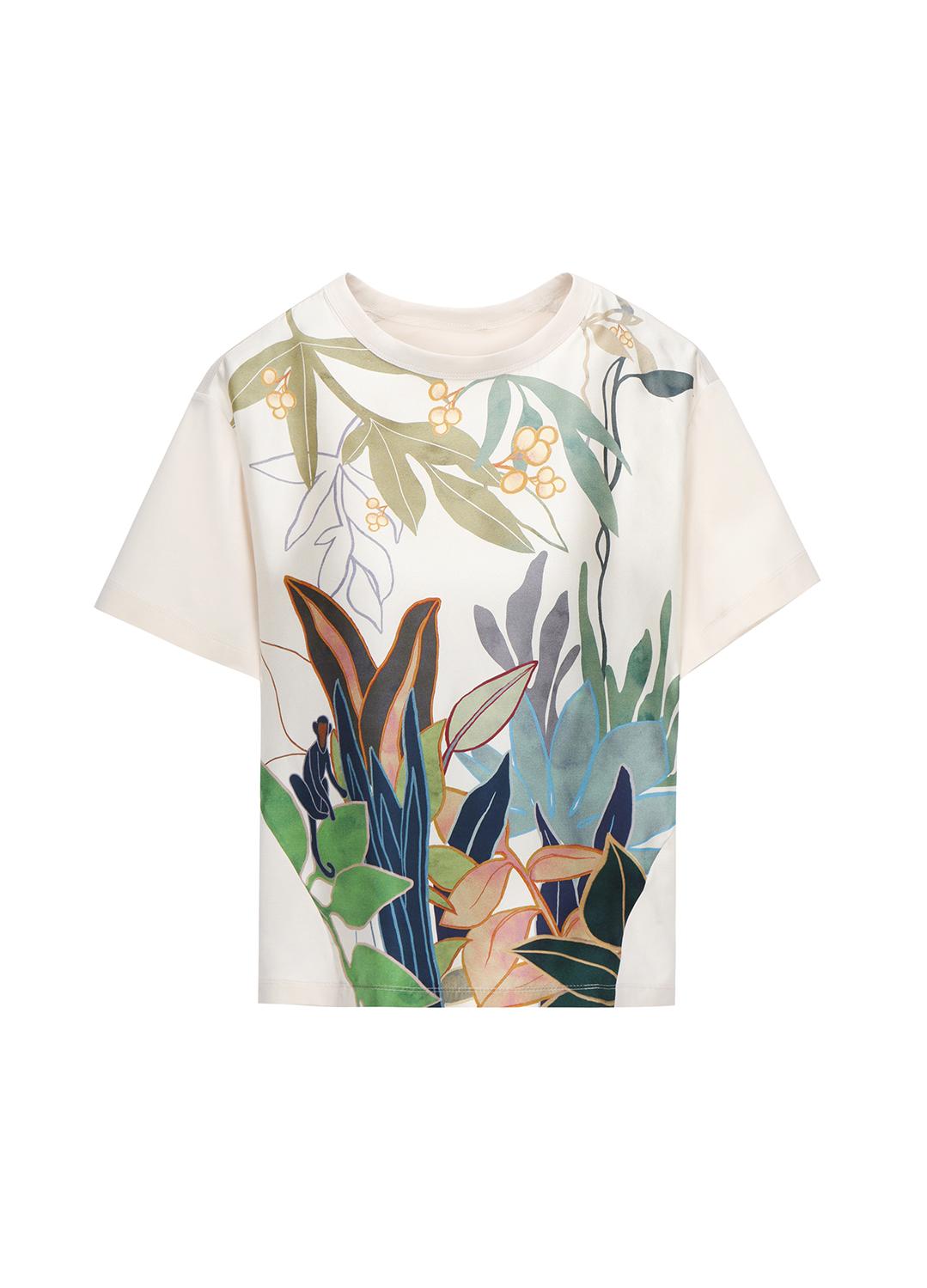 풀잎 실크 프린팅 코튼 티셔츠