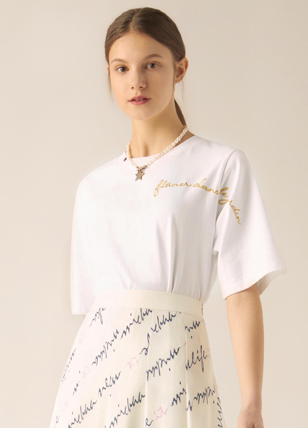 레터링 자수 티셔츠