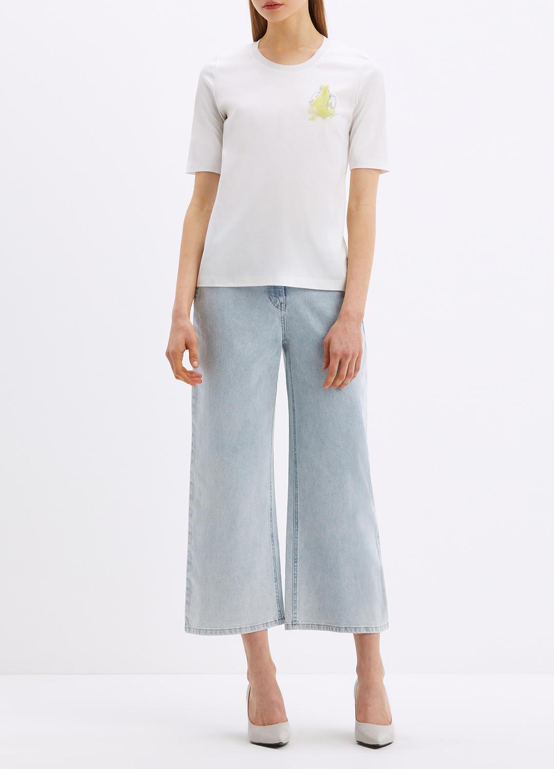 코튼 사이드 프린트 패턴 티셔츠
