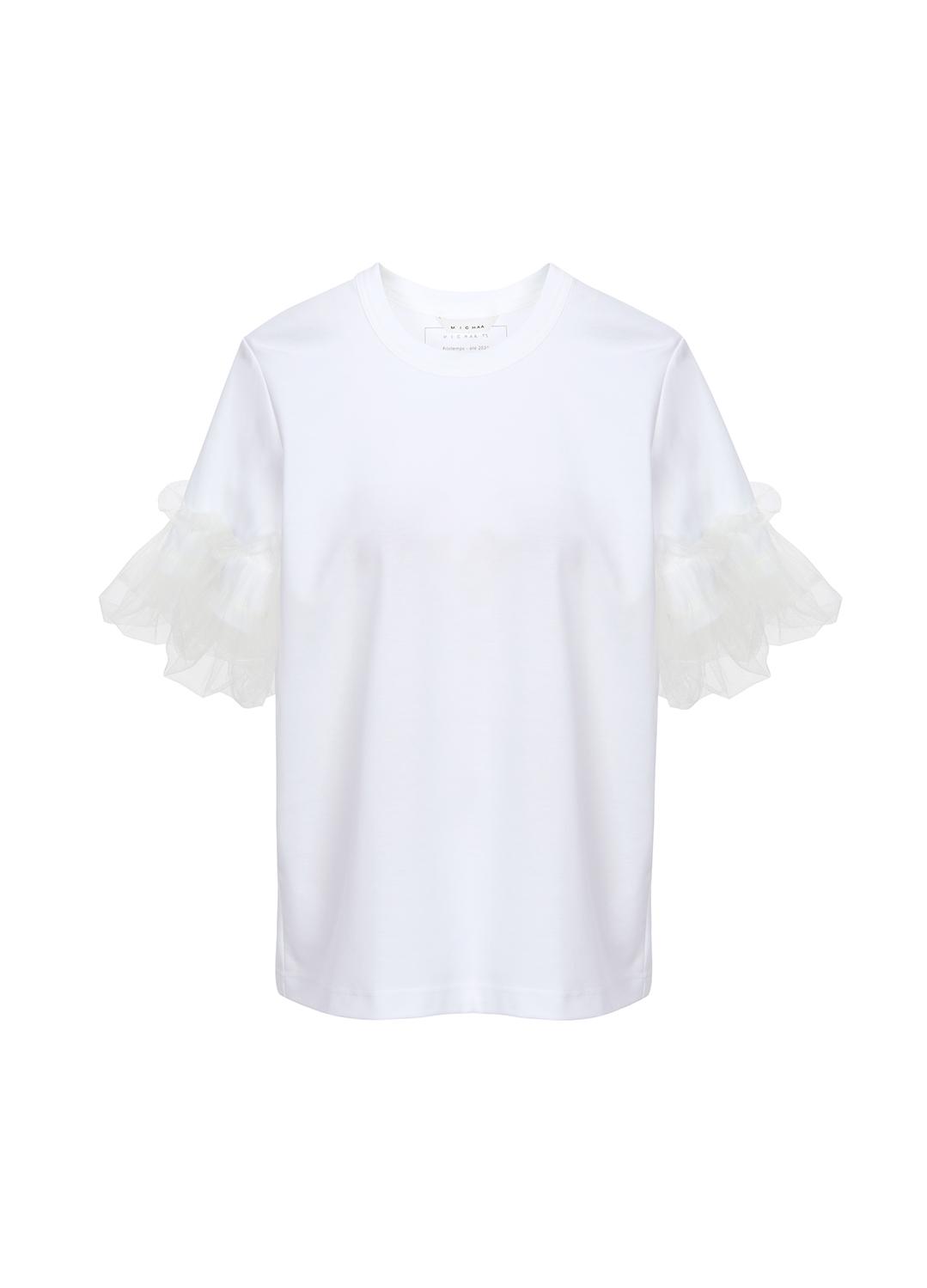 레이스 플레어 소매 포인트 티셔츠