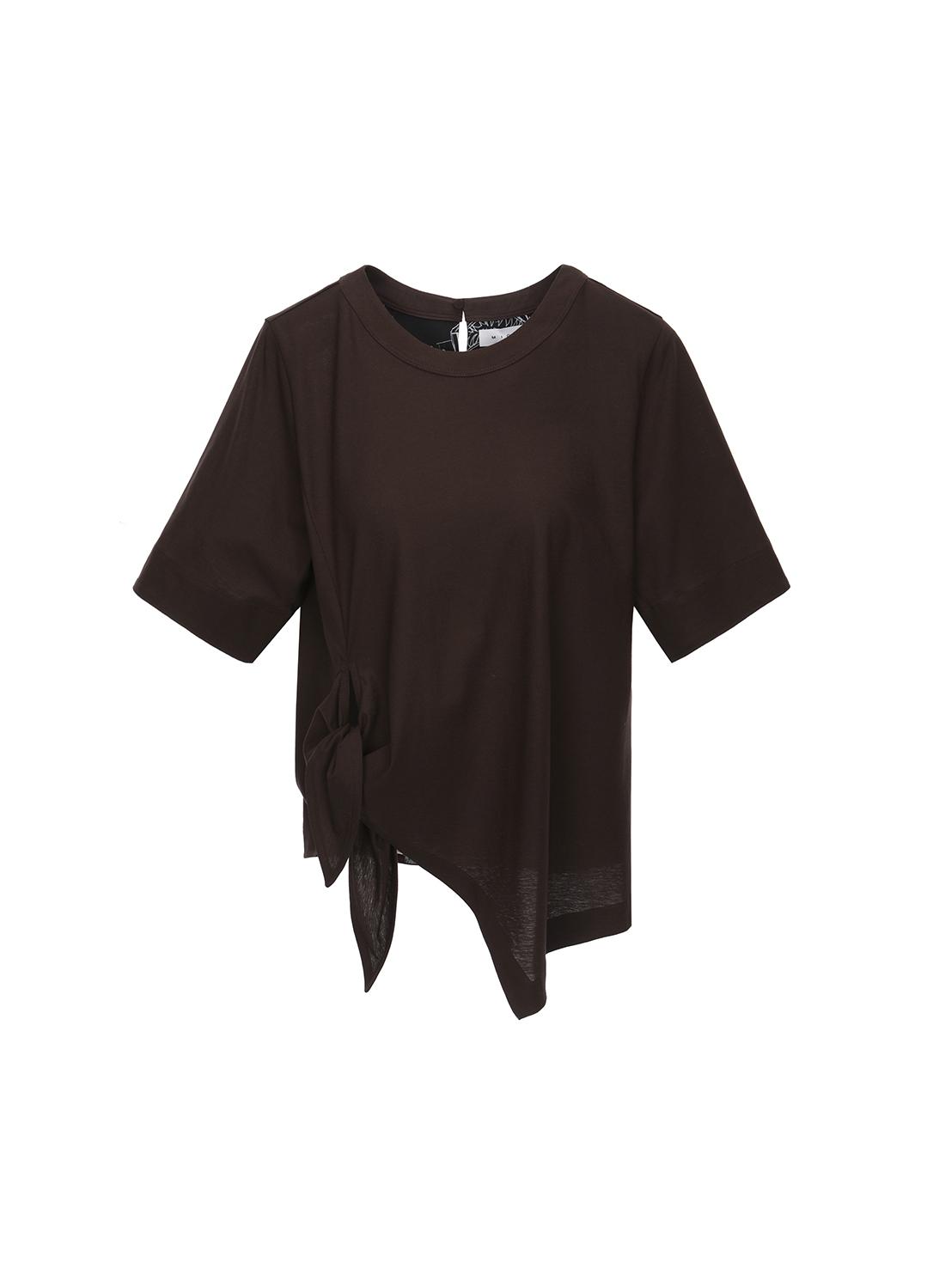코튼 사이드 타이 포인트 라운드넥 티셔츠