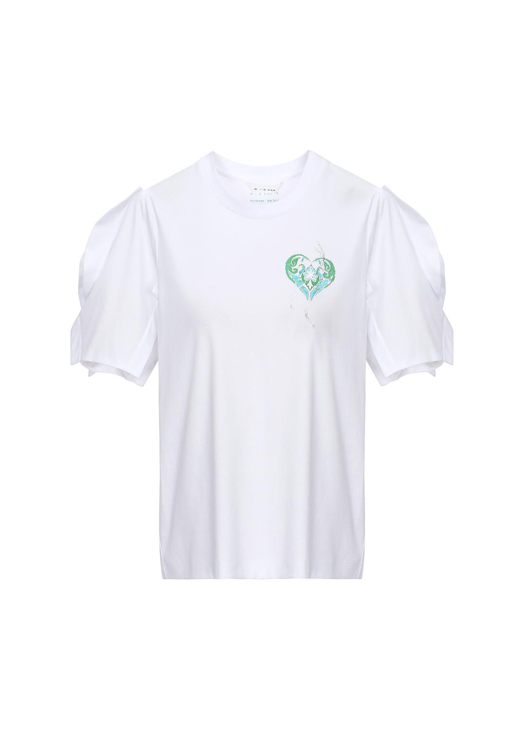 코튼 볼륨 소매 프론트 프린팅 티셔츠