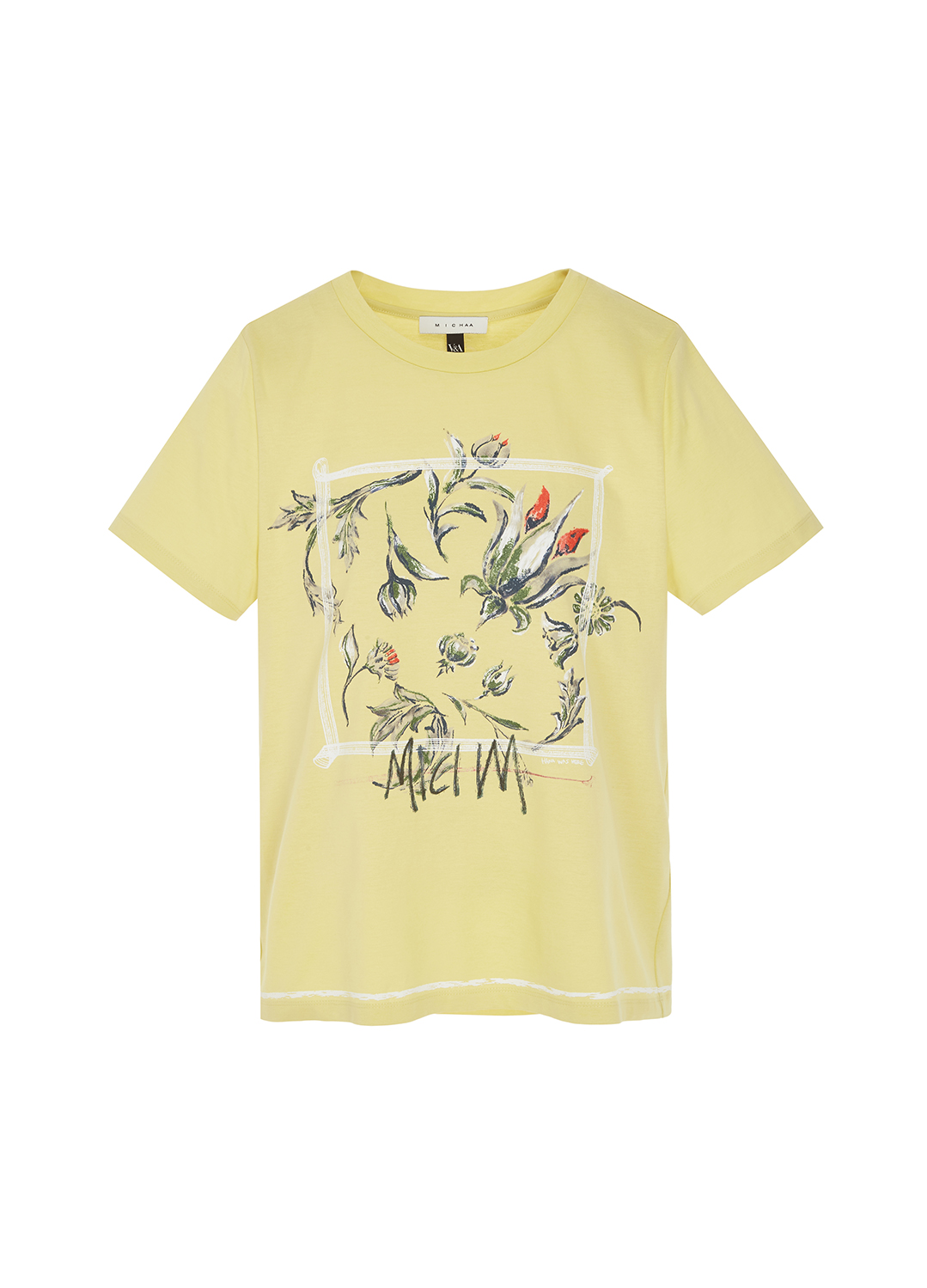 면 밑단 포인트 앞판 프린팅 티셔츠