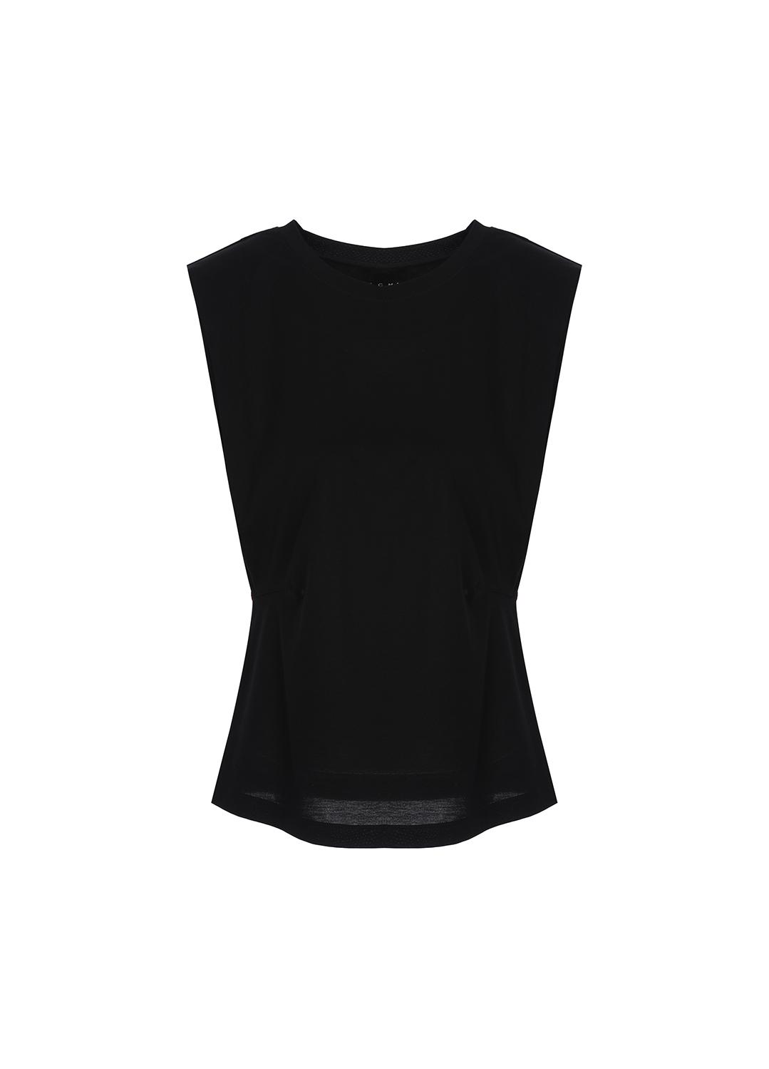 코튼 슬리브리스 라운드넥 티셔츠