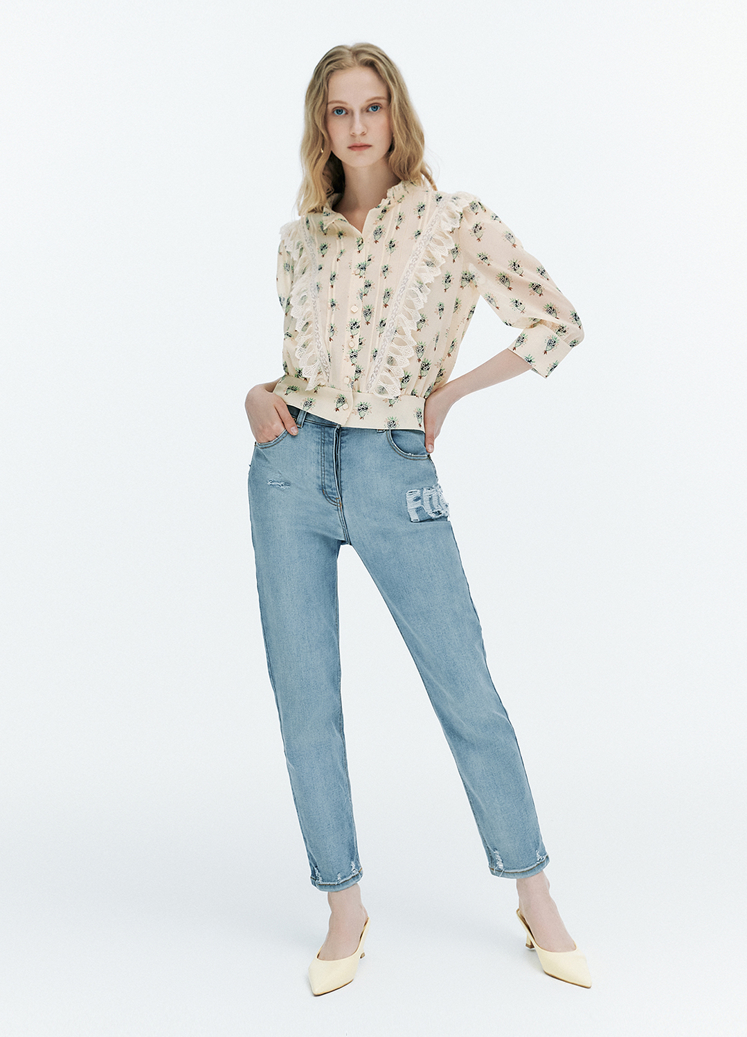 [FAD]Lace trimming flower blouse