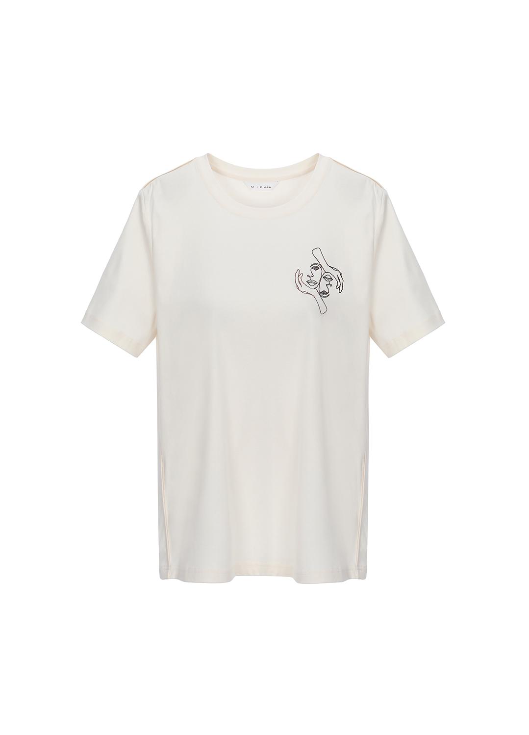 코튼 프린팅 포인트  티셔츠