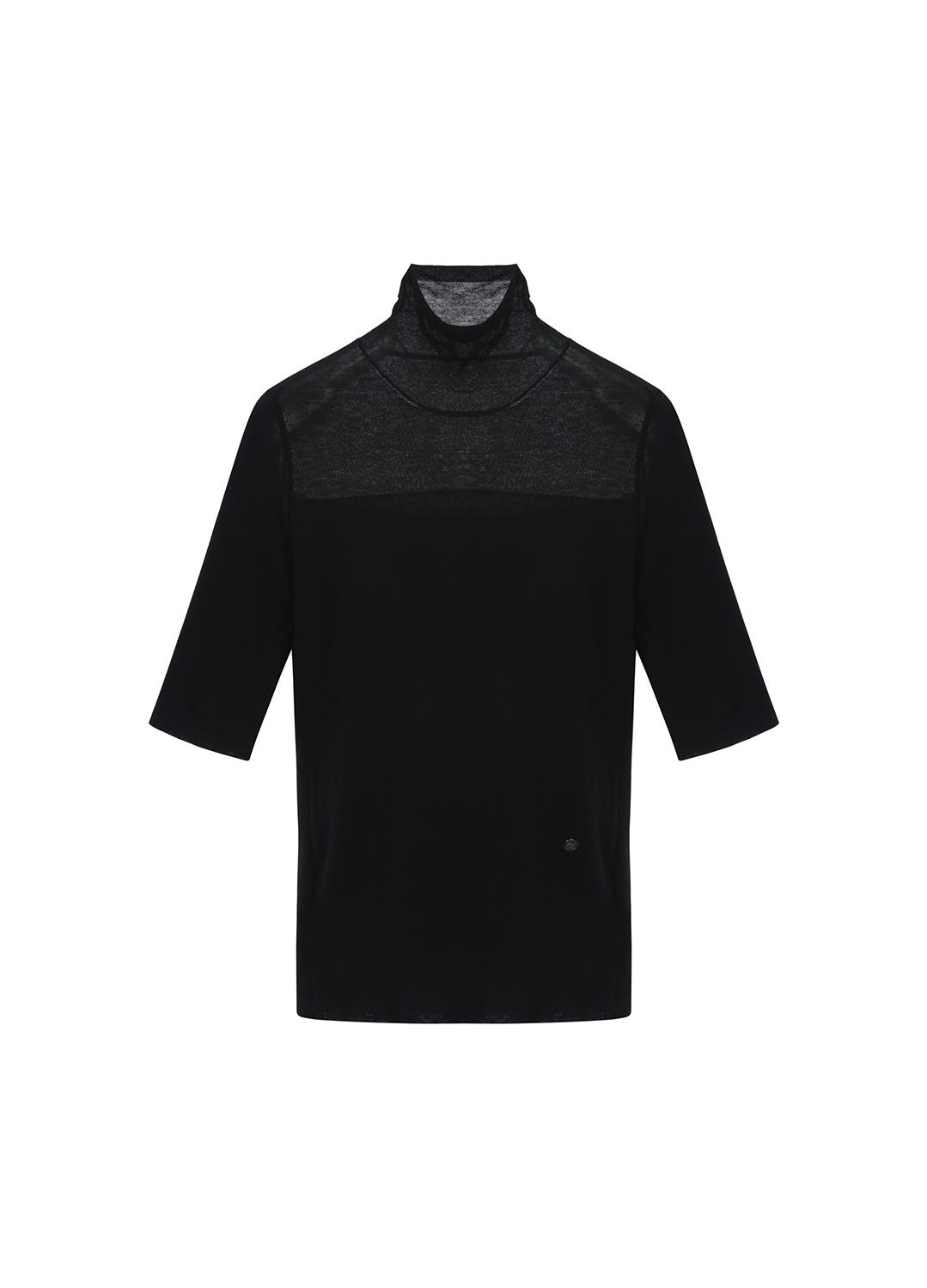 울 혼방 하프넥 5부 티셔츠