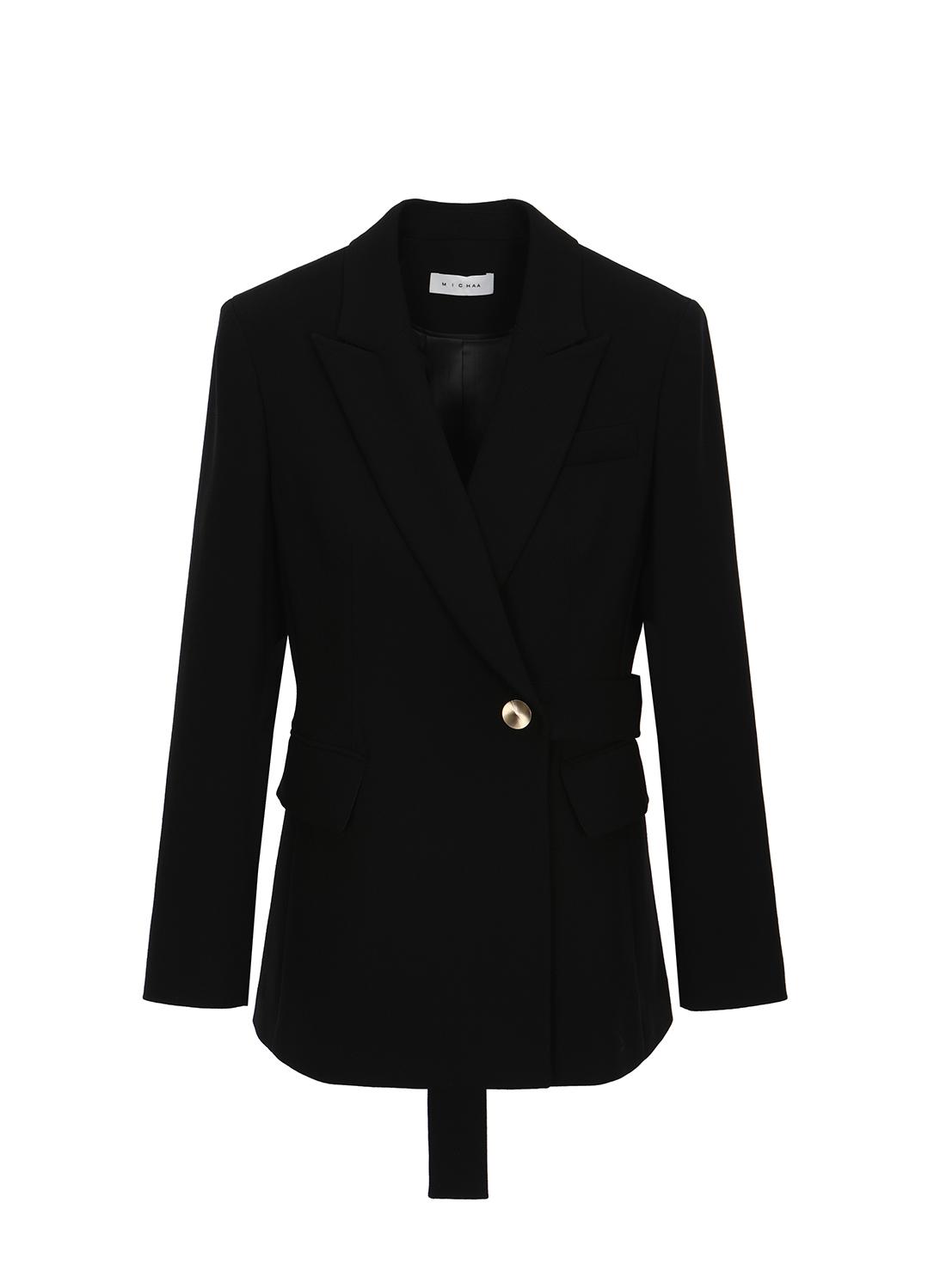 울 혼방 벨트 포인트 슬림핏 자켓