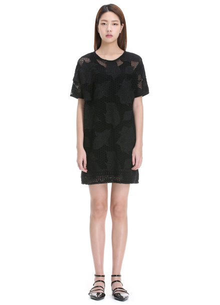 ○Embroidered Flower Lace Dress