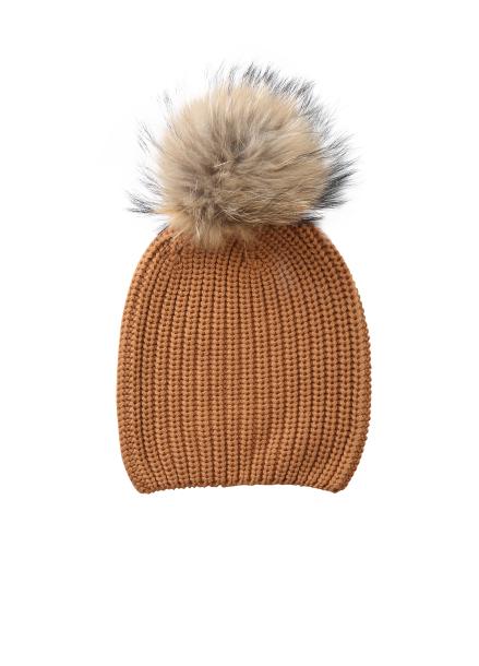 Fur Trimming Knit Beanie
