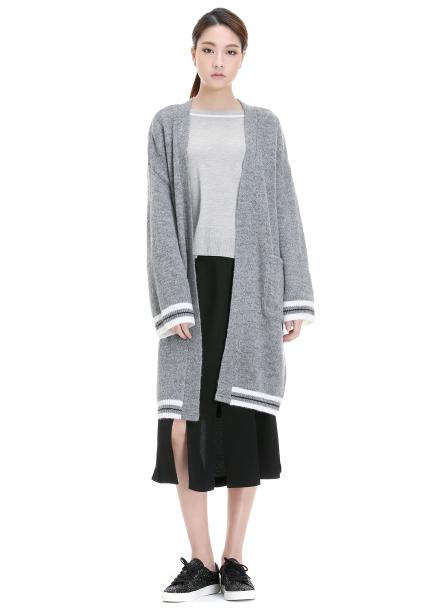 Sleeve Colorblock Oversized Cardigan