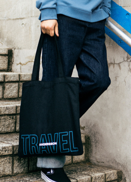 [ANDERSSON BELL/라스트세일40%]TWO-TONE LOGO ECO BAG_BLACK/BLUE