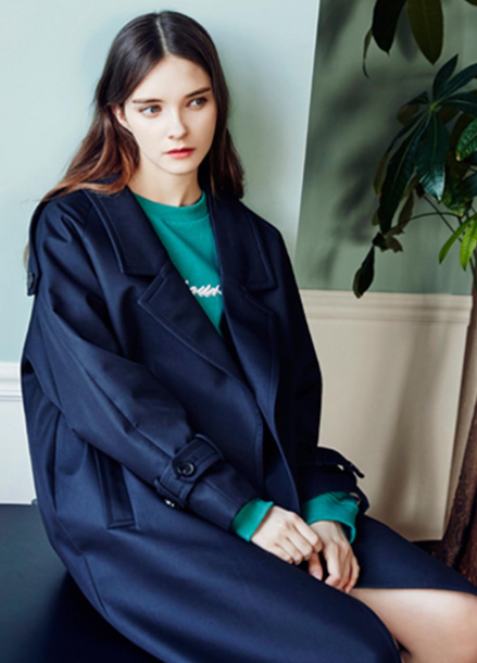 [CLUE DE CLARE/40%] raglan sleeve trench coat_NAVY