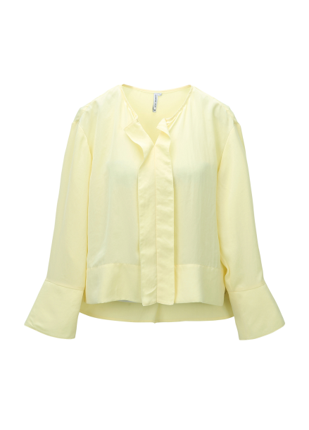 Frill Trimming Wide Cuffs Blouse