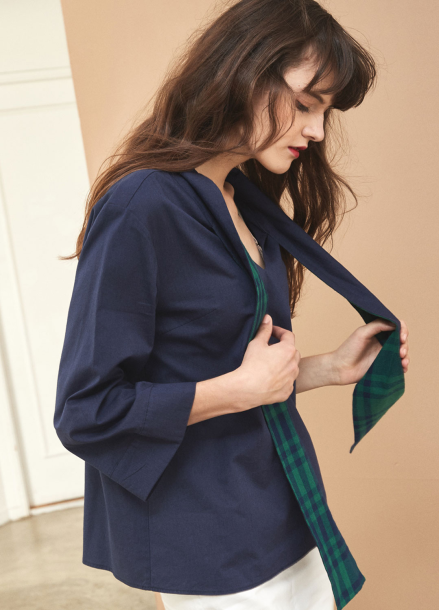 [YouNess] Scarf Neck Blouse
