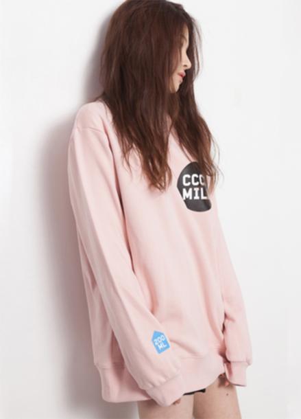 [단독15%할인+뱃지증정] T-SHIRT- CCCC Milk Sweat shirt_Pink