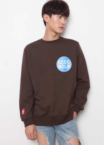 [단독15%할인+뱃지증정] T-SHIRT-CCCC Milk Sweat shirt_Brown