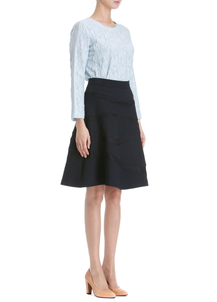 Wave Patterned Flare Skirt