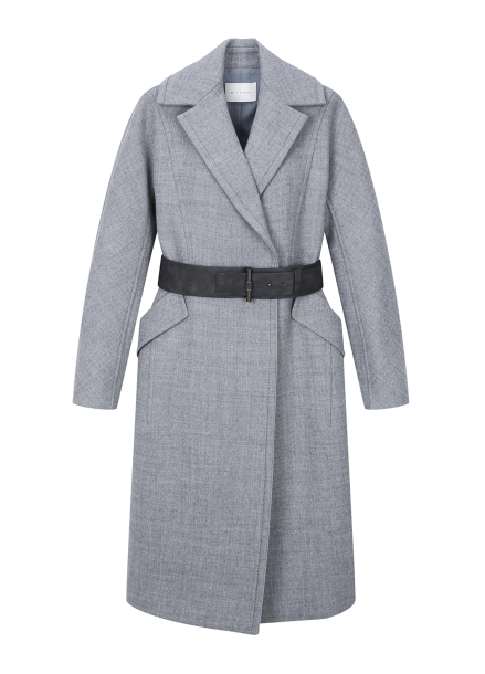 Leather Belt Wool-Blend Coat