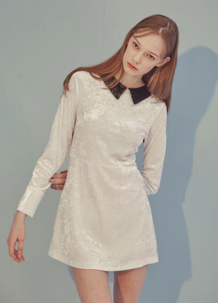 [ADDSENSE]VELVET A DRESS_WHITE