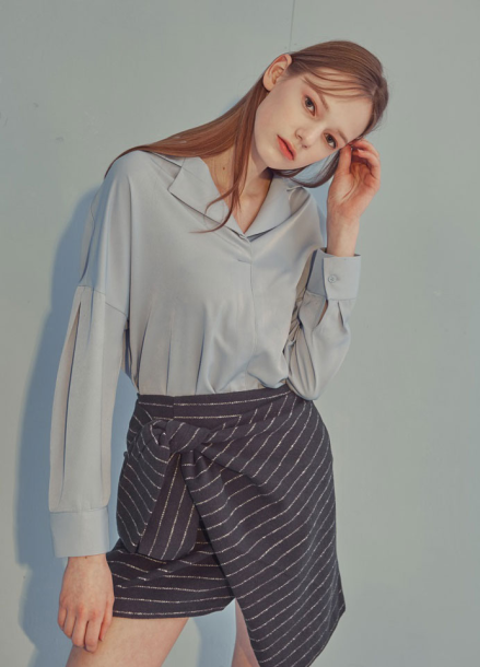 [ADDSENSE]ONE BUTTON BLOUSE_SKYBLUE