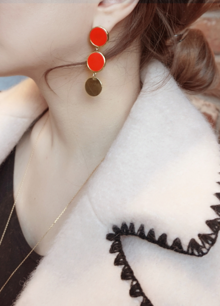 [TATIANA송지효 착용/10%할인]SUNSET CIRCULAR RED EARRING