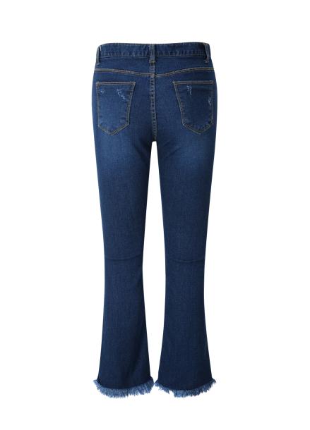 Fringe Boots Cut Denim Pants