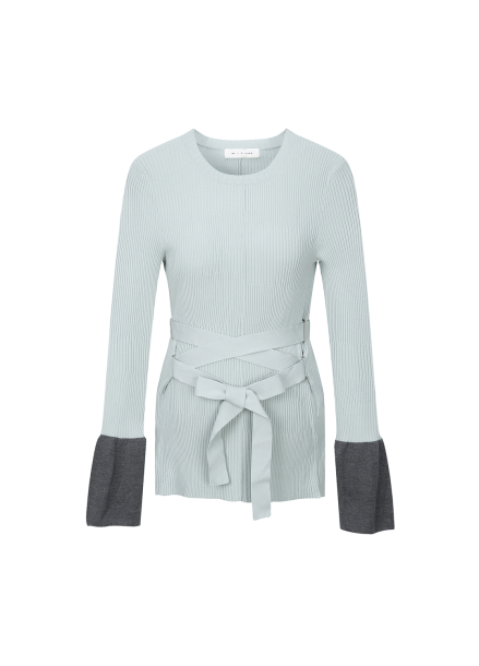 Waist Strap Peplum Sleeve Pullover