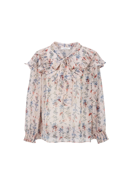 Chiffon Flower Pattern Ribbon Tie Blouse