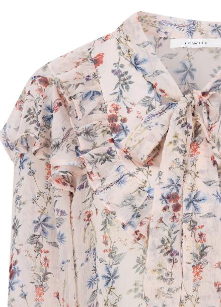 ★[주문폭주/당일배송] Chiffon Flower Pattern Ribbon Tie Blouse