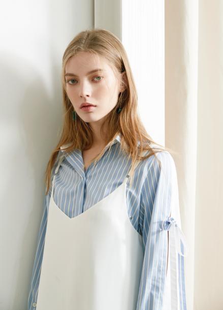 [S/S 30%할인/효민 착용] block stripe shirt White