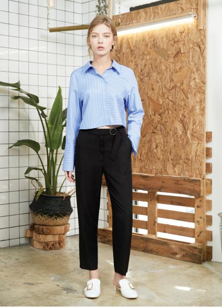 [S/S 30%할인] belted slit pants Black