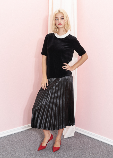 [SALON DE YOHN /20%/소녀시대수영착용]  Glossy Pleats Skirt_Black