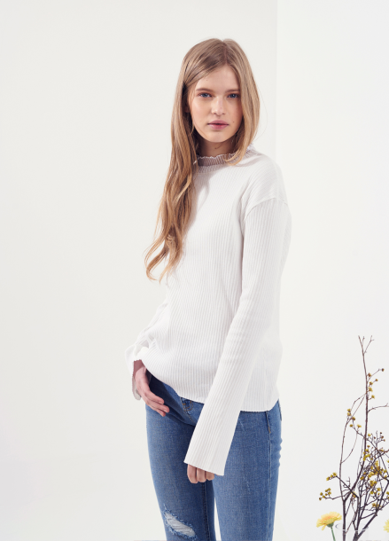 [VEMVER/10%] RUFFLE NECK T-SHIRTS_WH