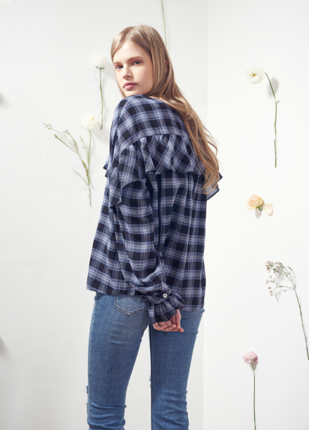 [VEMVER/10%] RUFFLE POINT CHECK BLOUSE_BL