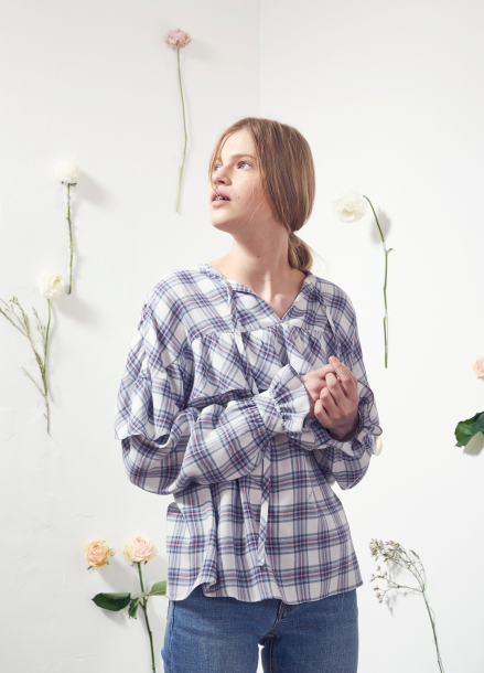 [VEMVER/10%] RUFFLE POINT CHECK BLOUSE_WH