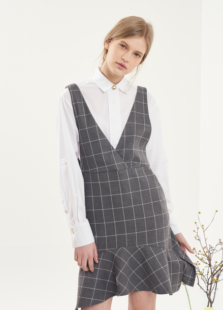[VEMVER/10%] RUFFLE CHECK ONEPIECE