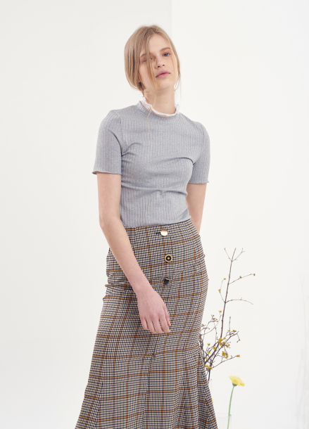 [VEMVER/10%] BUTTON POINT CHECK MERMAID SKIRT