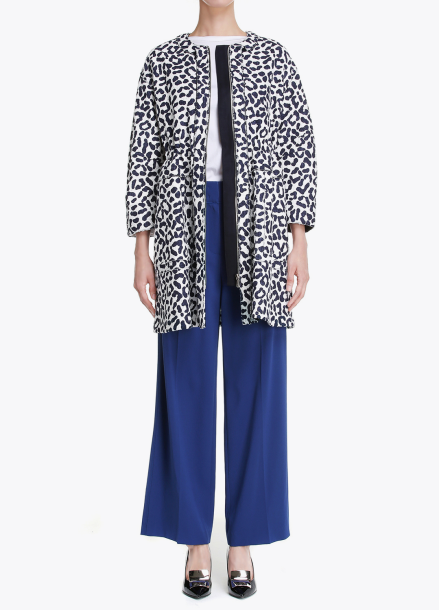 Leopard Patterned Zip-Up Long Outer