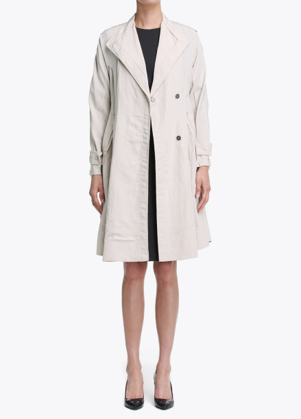 Linen-Blend A-Line Trench Coat