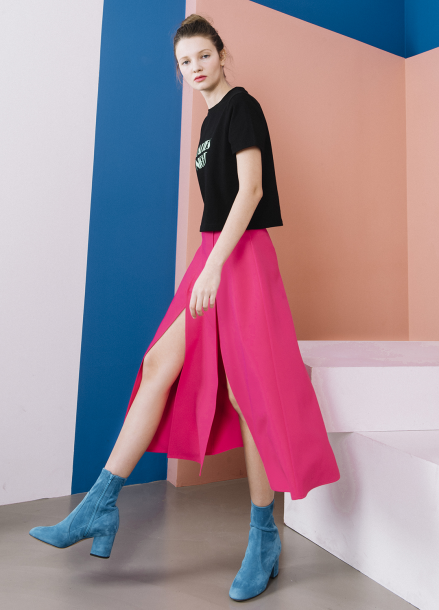 [THE SUIN 봄신상 20%]TWO SIDE -SLITS MIDI SKIRT ( HOT PINK )