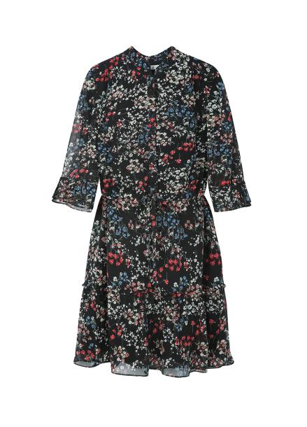 ◆ Short Sleeve Flower Patterned Chiffon Dress
