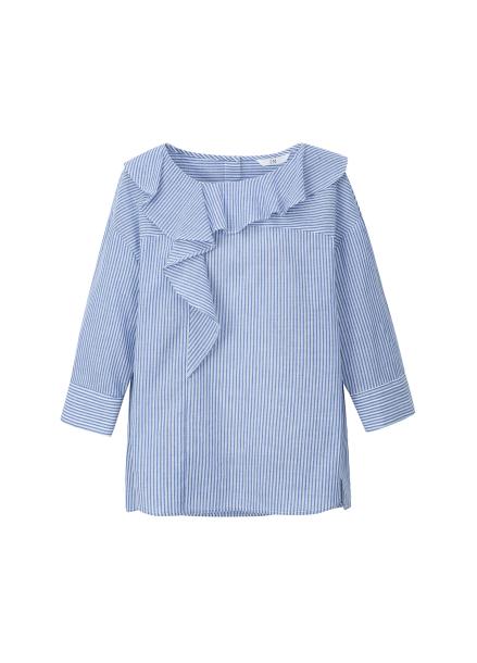◆Short Sleeve Neck Frill Stripe Blouse
